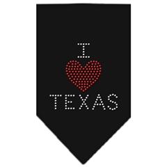 Mirage Pet Products I Heart Texas Rhinestone Bandana Black Small