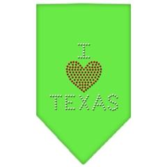 Mirage Pet Products I Heart Texas Rhinestone Bandana Lime Green Large