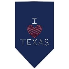 Mirage Pet Products I Heart Texas Rhinestone Bandana Navy Blue large