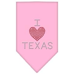 Mirage Pet Products I Heart Texas Rhinestone Bandana Light Pink Large