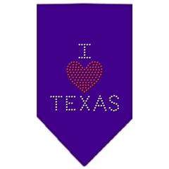 Mirage Pet Products I Heart Texas Rhinestone Bandana Purple Large