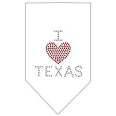 Mirage Pet Products I Heart Texas Rhinestone Bandana White Small