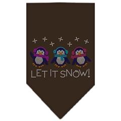 Mirage Pet Products Let It Snow Penguins Rhinestone Bandana Cocoa Large