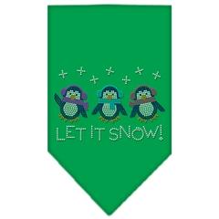 Mirage Pet Products Let It Snow Penguins Rhinestone Bandana Emerald Green Large