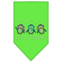 Mirage Pet Products Let It Snow Penguins Rhinestone Bandana Lime Green Large