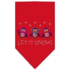 Mirage Pet Products Let It Snow Penguins Rhinestone Bandana Red Small