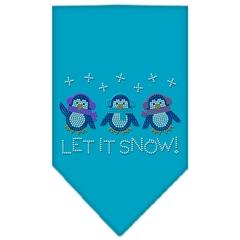 Mirage Pet Products Let It Snow Penguins Rhinestone Bandana Turquoise Large