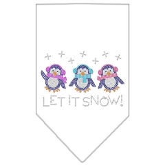 Mirage Pet Products Let It Snow Penguins Rhinestone Bandana White Small