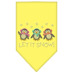 Mirage Pet Products Let It Snow Penguins Rhinestone Bandana Yellow Small