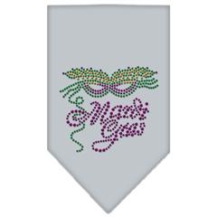 Mirage Pet Products Mardi Gras Rhinestone Bandana Grey Small