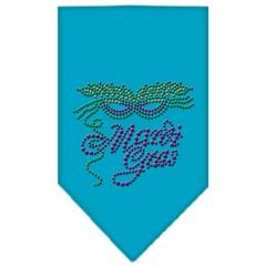 Mirage Pet Products Mardi Gras Rhinestone Bandana Turquoise Small