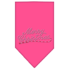 Mirage Pet Products Merry Christmas Rhinestone Bandana Bright Pink Small