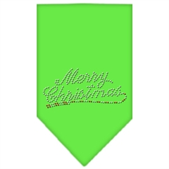 Mirage Pet Products Merry Christmas Rhinestone Bandana Lime Green Large