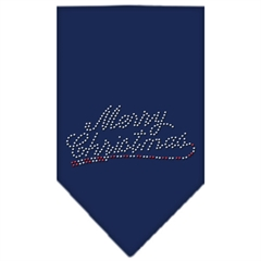 Mirage Pet Products Merry Christmas Rhinestone Bandana Navy Blue large