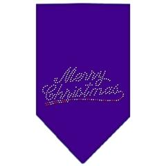 Mirage Pet Products Merry Christmas Rhinestone Bandana Purple Large