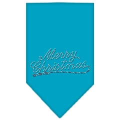 Mirage Pet Products Merry Christmas Rhinestone Bandana Turquoise Large