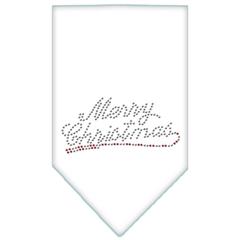 Mirage Pet Products Merry Christmas Rhinestone Bandana White Large