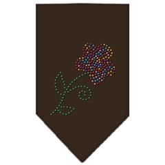 Mirage Pet Products Multi Flower Rhinestone Bandana Cocoa Small
