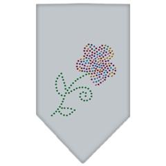 Mirage Pet Products Multi Flower Rhinestone Bandana Grey Large