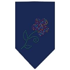 Mirage Pet Products Multi Flower Rhinestone Bandana Navy Blue Small