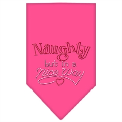 Mirage Pet Products Naughty but in a Nice Way Rhinestone Bandana Bright Pink Large