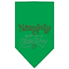 Mirage Pet Products Naughty but in a Nice Way Rhinestone Bandana Emerald Green Small