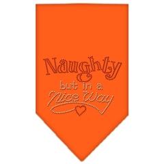 Mirage Pet Products Naughty but in a Nice Way Rhinestone Bandana Orange Small