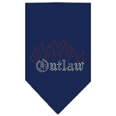 Mirage Pet Products Outlaw Rhinestone Bandana Navy Blue large