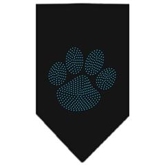 Mirage Pet Products Paw Blue Rhinestone Bandana Black Small