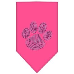 Mirage Pet Products Paw Blue Rhinestone Bandana Bright Pink Large