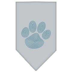 Mirage Pet Products Paw Blue Rhinestone Bandana Grey Large