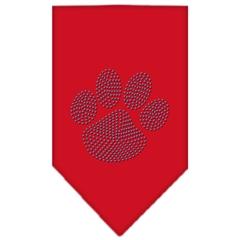Mirage Pet Products Paw Blue Rhinestone Bandana Red Large