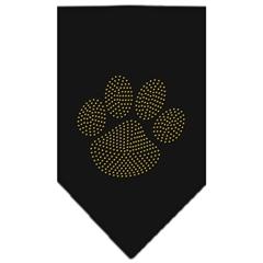 Mirage Pet Products Paw Gold Rhinestone Bandana Black Large
