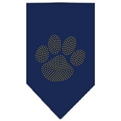 Mirage Pet Products Paw Gold Rhinestone Bandana Navy Blue Small
