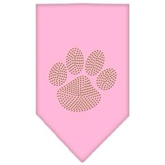 Mirage Pet Products Paw Gold Rhinestone Bandana Light Pink Large