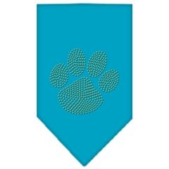 Mirage Pet Products Paw Gold Rhinestone Bandana Turquoise Large