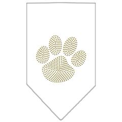 Mirage Pet Products Paw Gold Rhinestone Bandana White Large