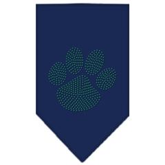 Mirage Pet Products Paw Green Rhinestone Bandana Navy Blue Small