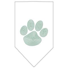 Mirage Pet Products Paw Green Rhinestone Bandana White Small