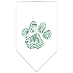 Mirage Pet Products Paw Green Rhinestone Bandana White Large