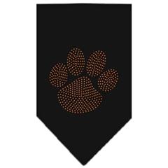 Mirage Pet Products Paw Orange Rhinestone Bandana Black Large