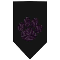 Mirage Pet Products Paw Purple Rhinestone Bandana Black Large