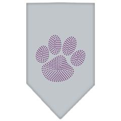 Mirage Pet Products Paw Purple Rhinestone Bandana Grey Large