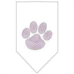 Mirage Pet Products Paw Purple Rhinestone Bandana White Large
