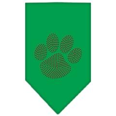 Mirage Pet Products Paw Red Rhinestone Bandana Emerald Green Large