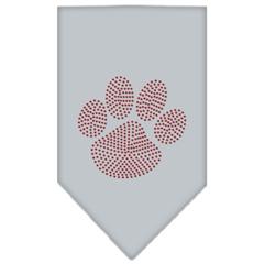 Mirage Pet Products Paw Red Rhinestone Bandana Grey Small