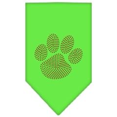 Mirage Pet Products Paw Red Rhinestone Bandana Lime Green Large