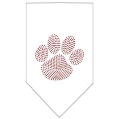 Mirage Pet Products Paw Red Rhinestone Bandana White Large