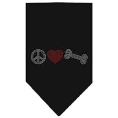 Mirage Pet Products Peace Love Bone Rhinestone Bandana Black Small
