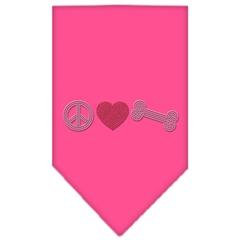 Mirage Pet Products Peace Love Bone Rhinestone Bandana Bright Pink Large